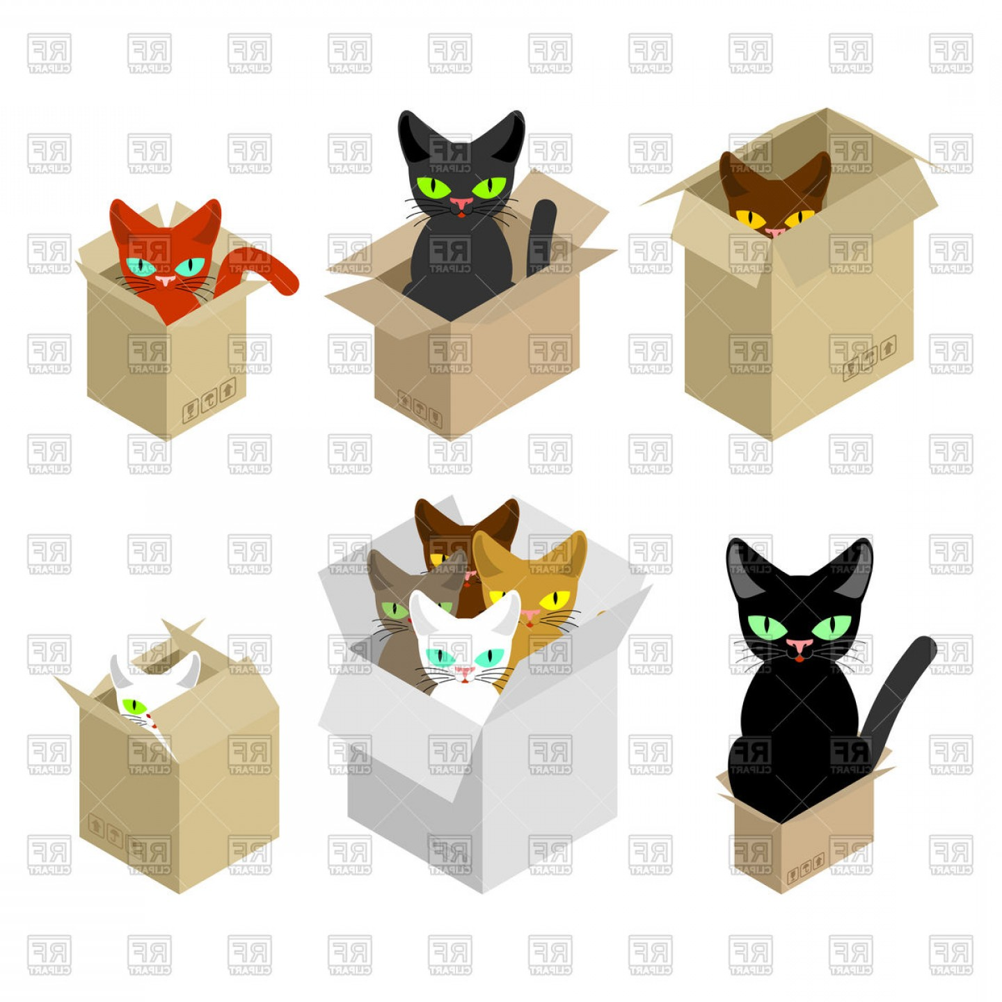 Vector Cats 3: Cat In Box Set Vector Clipart