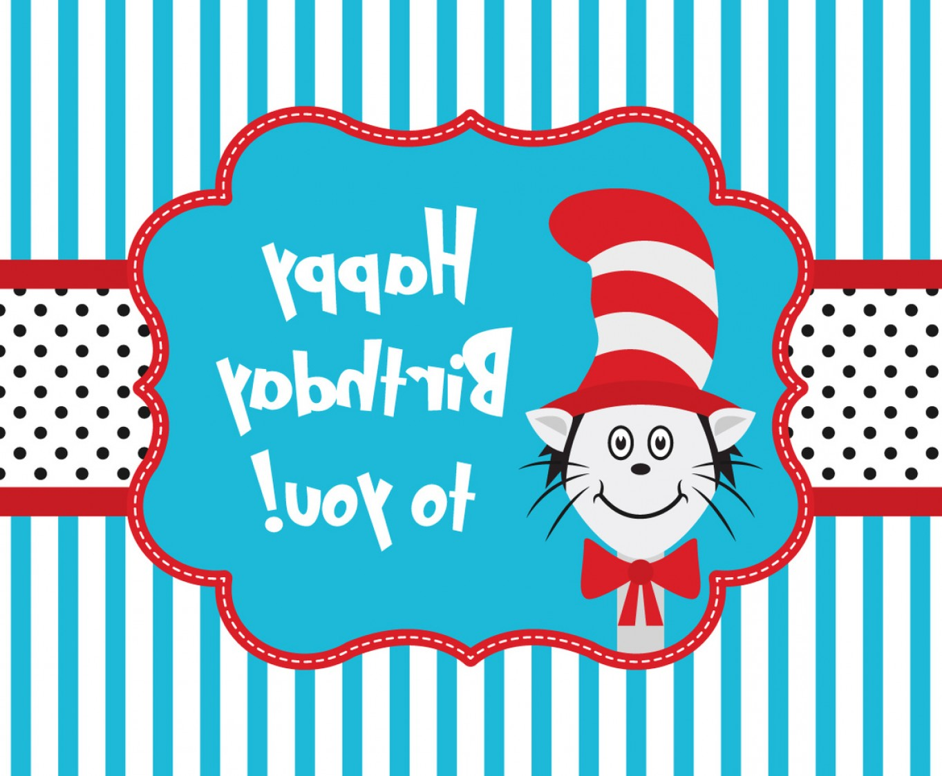 Dr. Seuss Hat Vector: Cat In The Hat Greeting Card Template