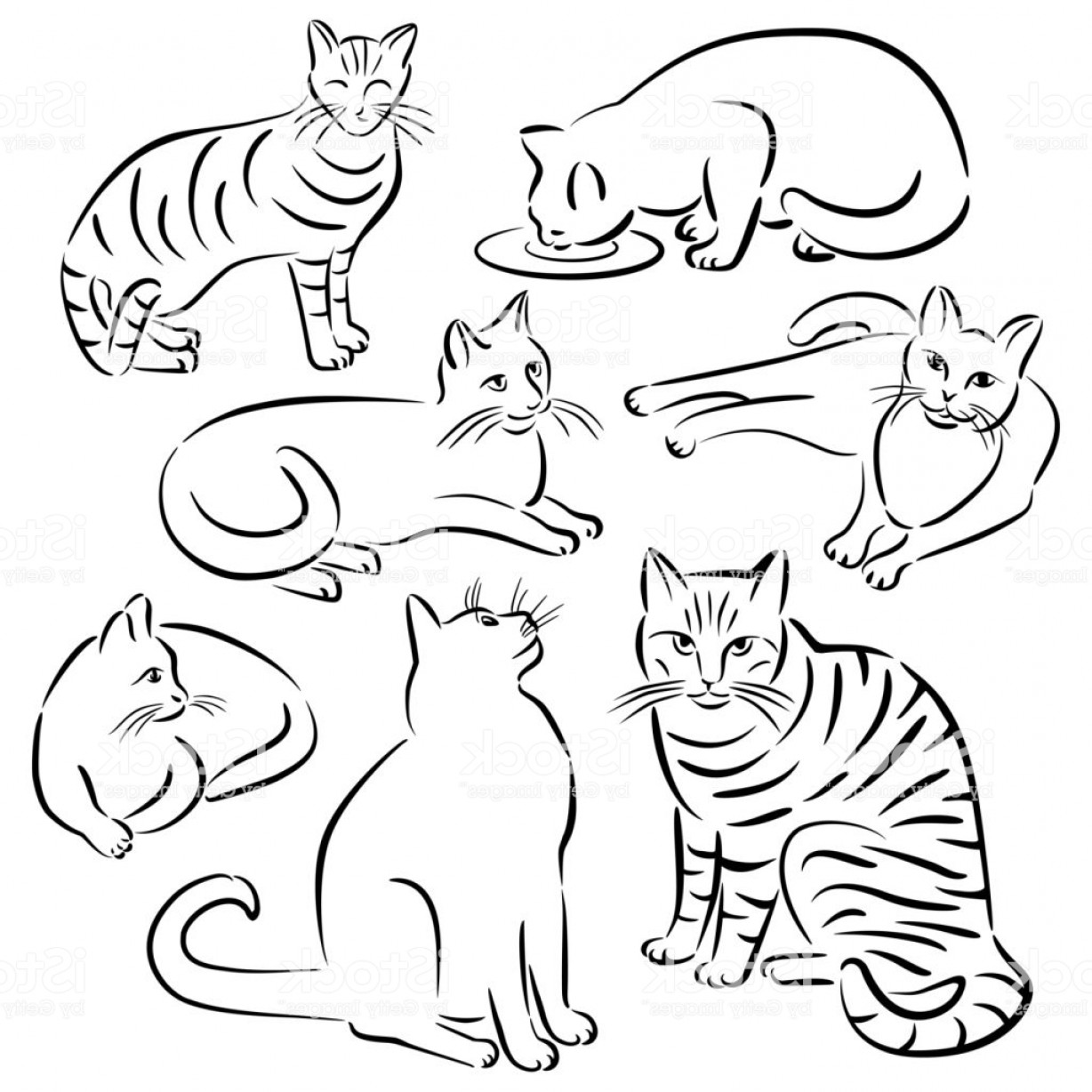 Vector Cats 3: Cat Line Designsset Gm