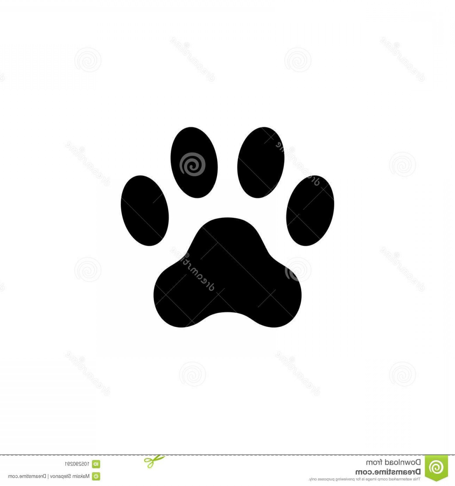 Vector Paw Decals: Cat Paw Print Footprint Animal Paw Isolated White Background Vector Illustration Cat Paw Print Footprint Animal Paw Isolated Image