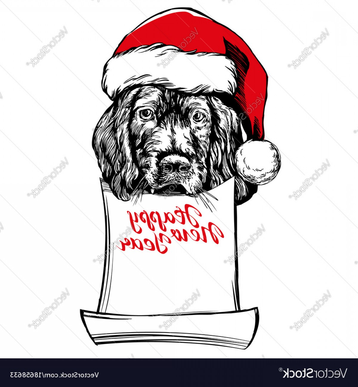 Stocking Hat Vector: Catchy Dog In Santa Stocking Hat Santa Claus Christmas Vector
