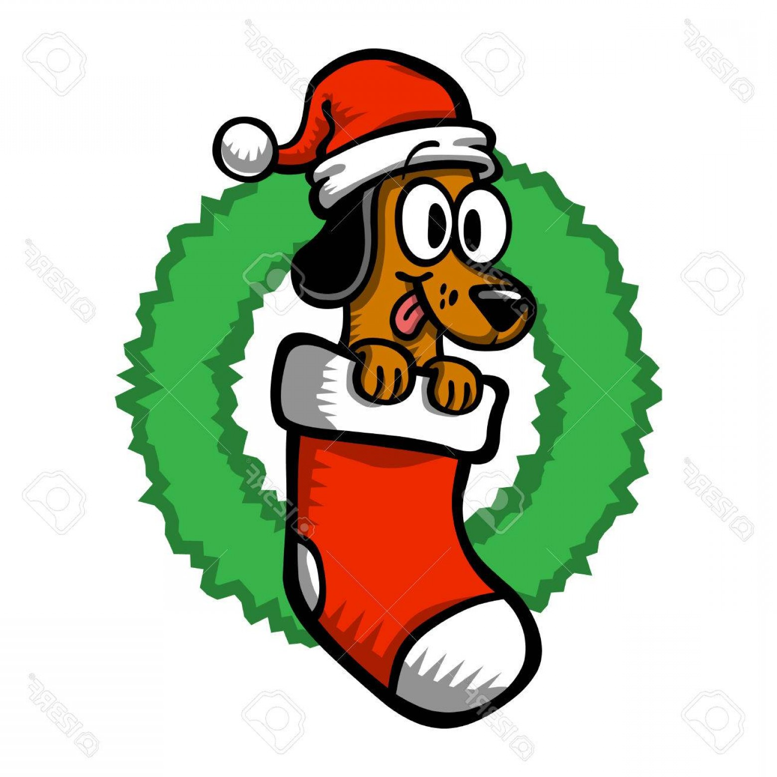 Stocking Hat Vector: Catchy Photostock Vector Cartoon Dog Santa Hat Christmas Stocking