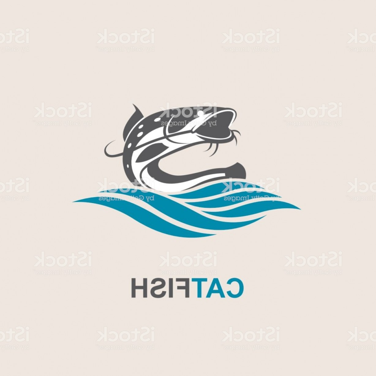 Catfish Vector Logo: Catfish And Wave Icon Gm