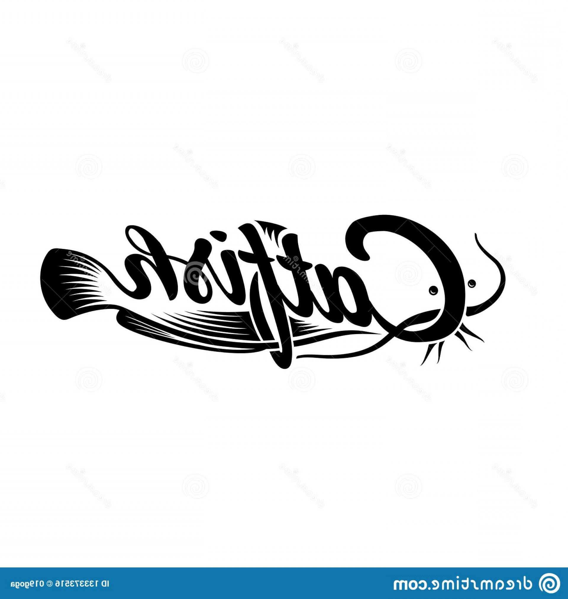 Catfish Vector Logo: Catfish Logo Black White Lettering Design Decorative Inscription Cat Fish T Shirt Apparel Typography Print Poster Vector Image