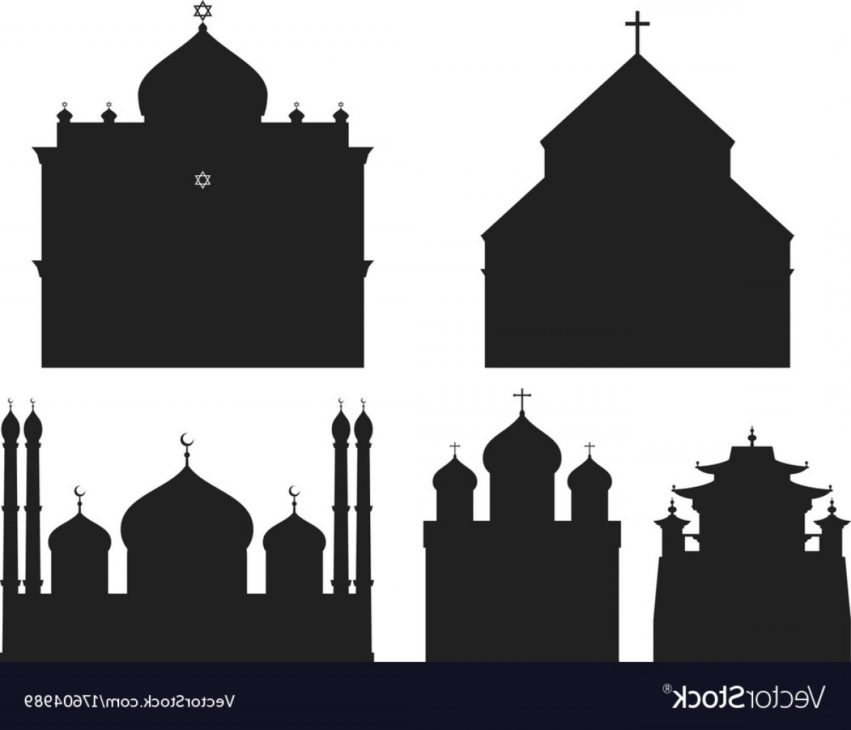 Church Silhouette Vector: Cathedral Black Silhouette Church Temple Vector