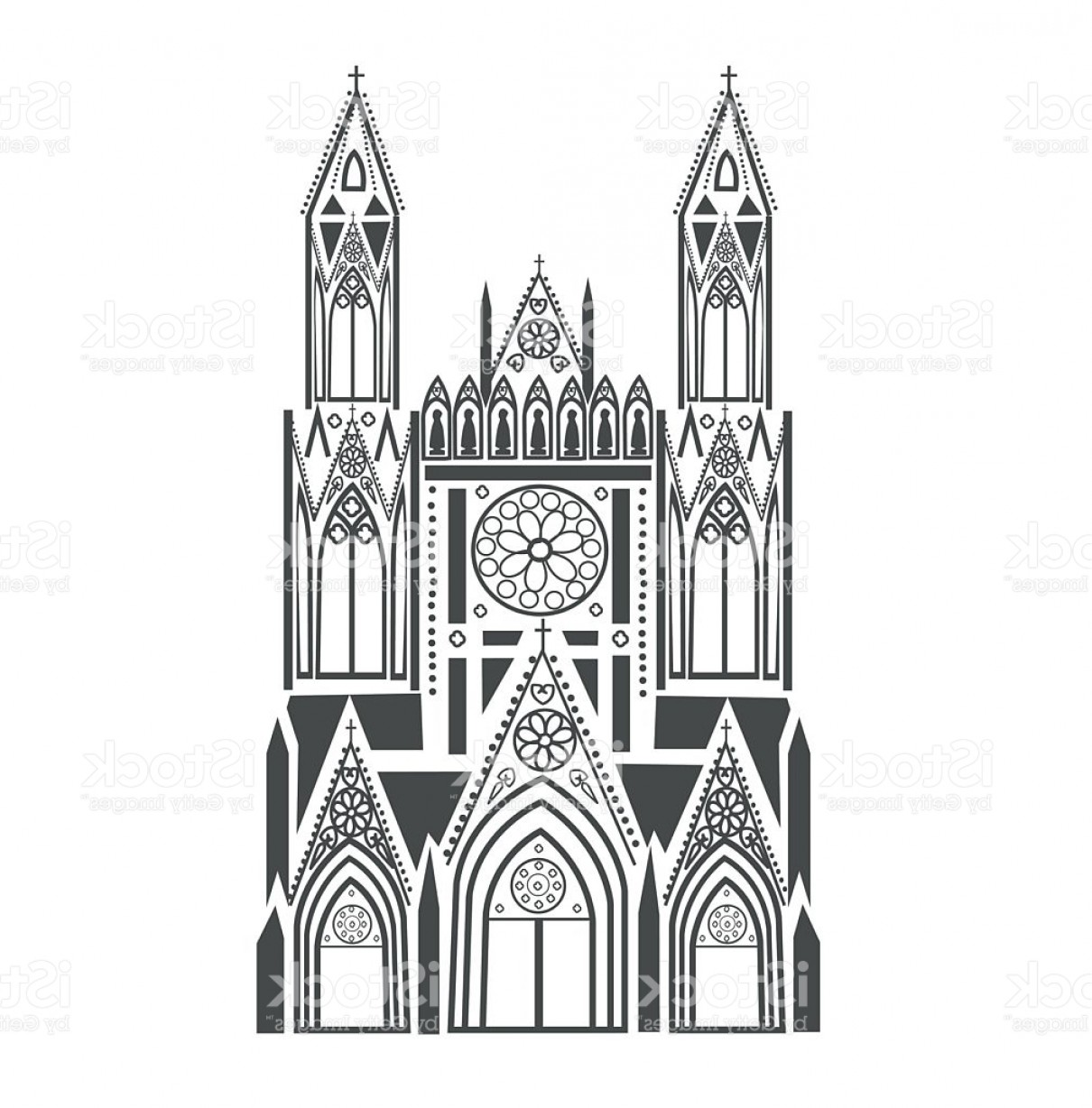 Gothic Religious Vector: Catholic Cathedral In The Gothic Style Gm