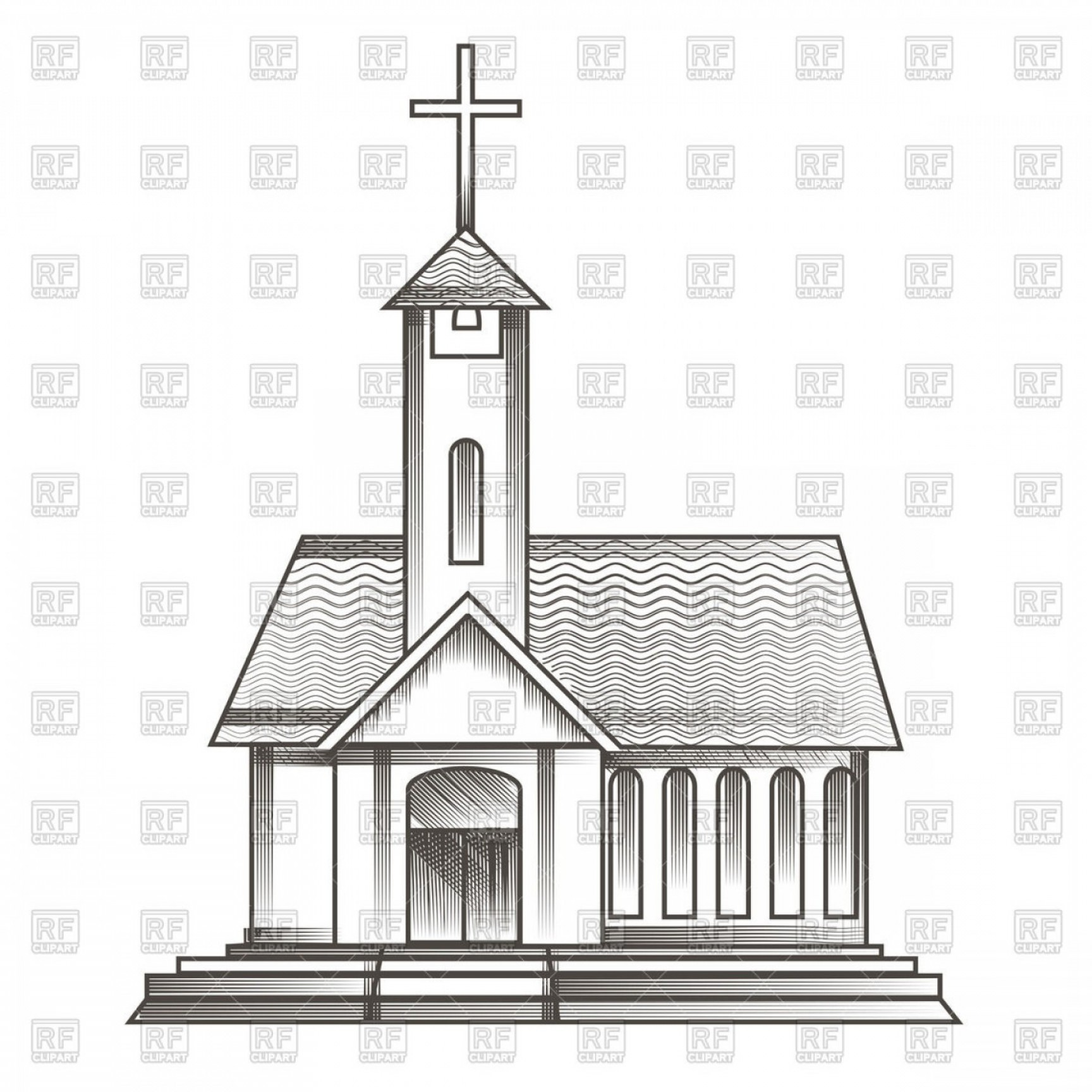 Catholic Clip Art Vector: Catholic Church Drawn In Engraving Style Vector Clipart