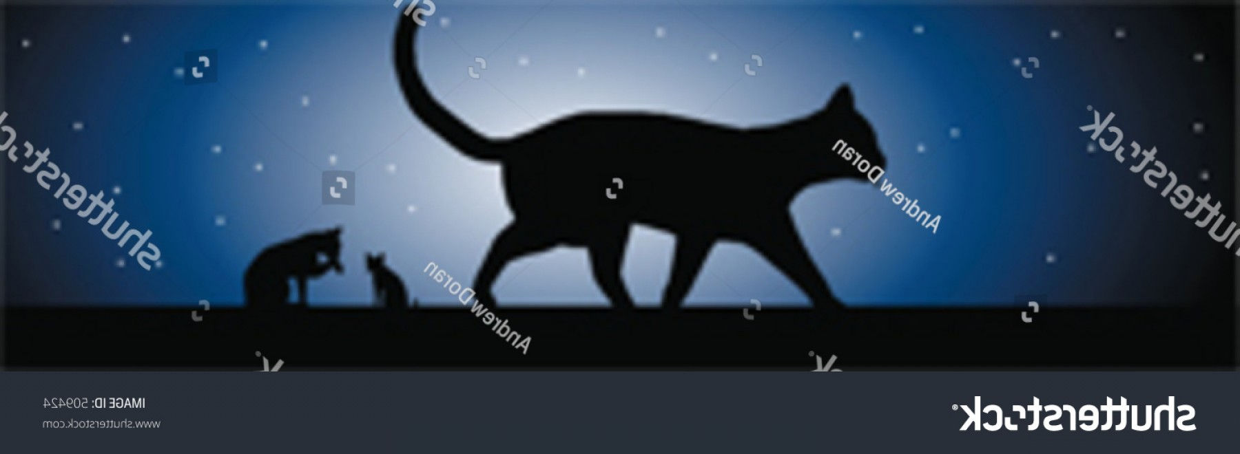 Vector Cats 3: Cats Moonlight Vector Image Sillhouetted