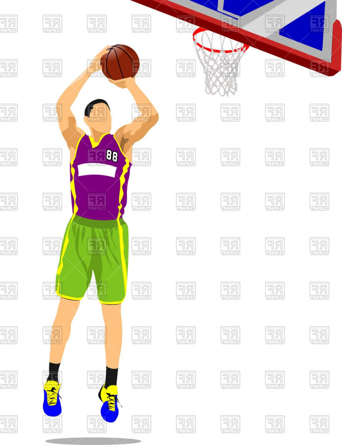 Motion Basketball Vector: Caucasian Basketball Player Leaping To The Hoop Vector Clipart