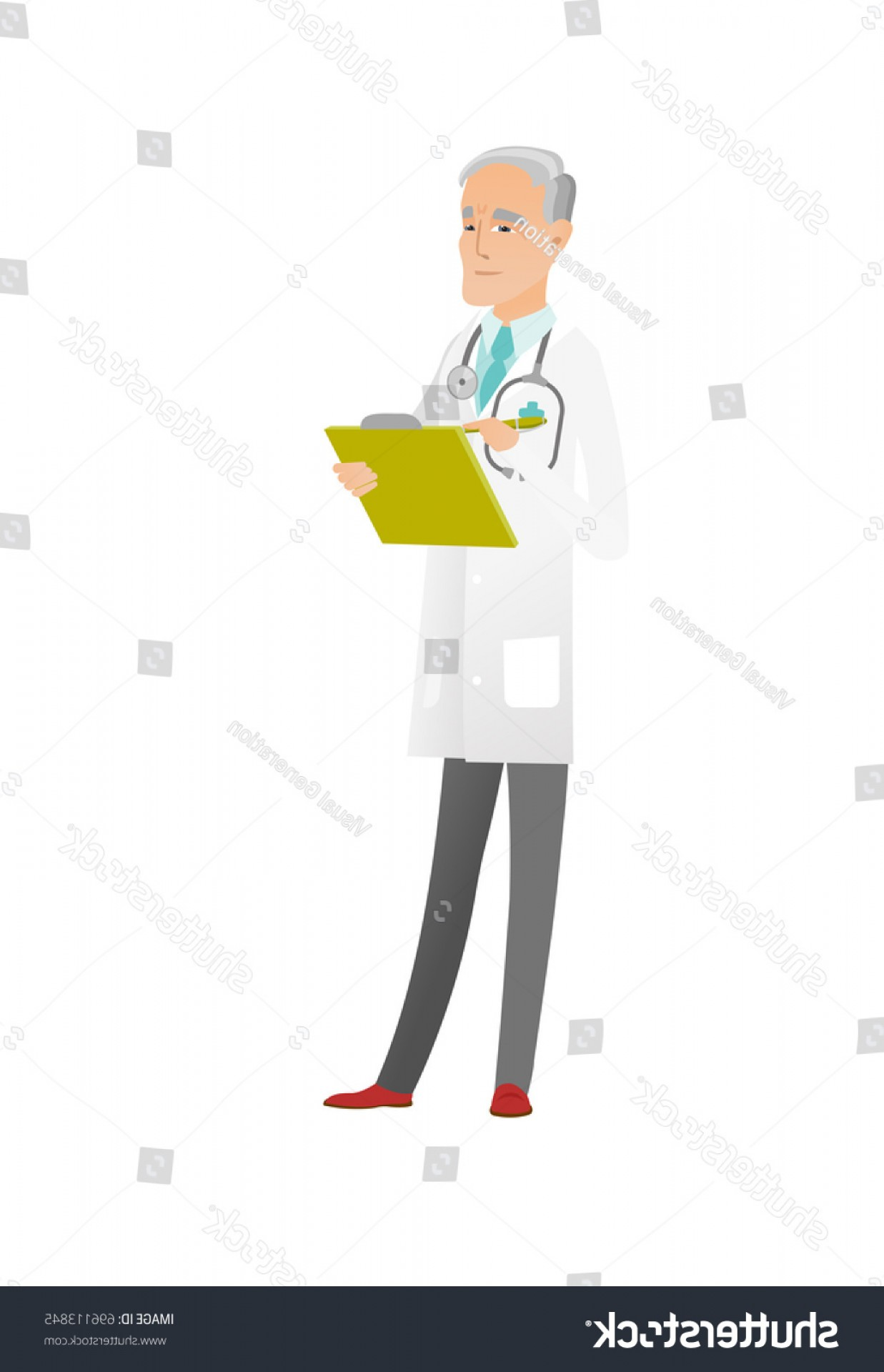 Notepad Writing Hand Vector: Caucasian Doctor Writing Notes Notepad Senior