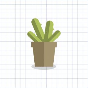 Vector Elegant Pot: Cactus Plant In A Pot Vector