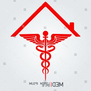 With Red Caduceus Vector: Stock Illustration Caduceus Rounded Vector Icon