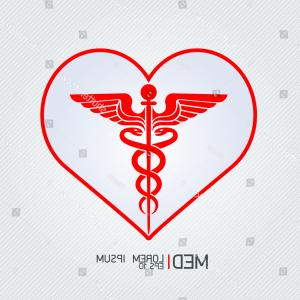 With Red Caduceus Vector: Stock Illustration Caduceus Medical Snake Vector Icon