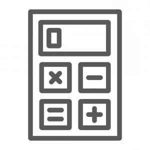 Vector Division Calculator: Calculator Line Icon Office And Work Vector