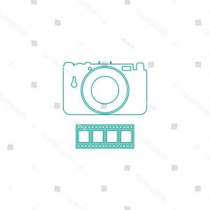 Camera Outline Vector Graphic: Camera Outline Vector Icon On White