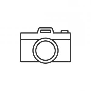 Camera Outline Vector Graphic: Photostock Vector Camera And Photography Emblem In Outline Style Isolated On White Background