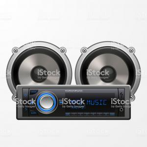 Car Audio Vector: Car Audio Player And Speakers On Plain Background Gm
