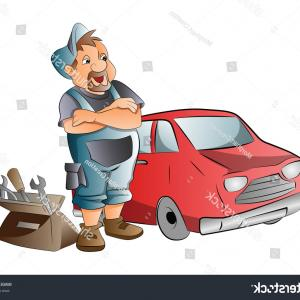 Mechanic Working Vector: Car Mechanic Working On Red Vector
