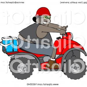 UTV Clipart-Vector: Cartoon Black Man Riding A Red Atv With An Ice Box On The Back