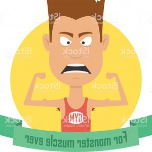 Vector Muscle Man Cartoon Cut: Angry Boxer Model Symbol Badge Sport