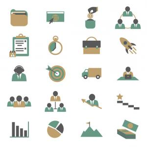 Art Project Icon Vector: Cartoon Color Project Management Icons Set Vector