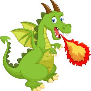 Dragon Fire Vector: Angry Red Dragon With Fire Breath Cartoon Vector