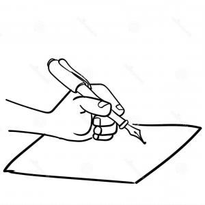 Notepad Writing Hand Vector: Cartoon Hand Writing Pen Vector Drawn His Close Up Paper Illustration Image