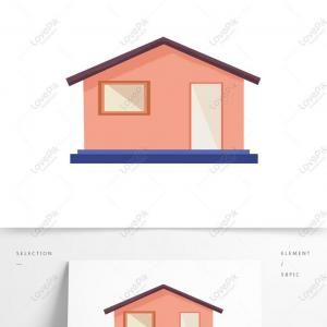 PowerPoint Vector Casa De Bolsa: Cartoon House Minimalist Design With Commercial Elements