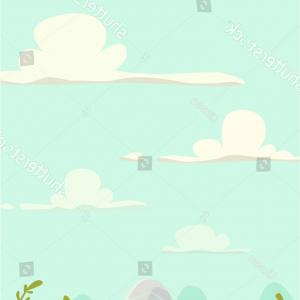 Grass Hills Vector: Cartoon Meadow Landscape Stones Grasshills Cloudy