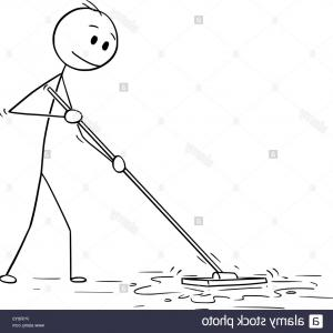 Vector Mop Flower: A Janitor Mopping The Floor At Inside A Kindergarten Classroom
