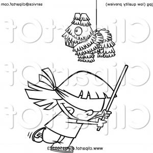 Vector Pinata Stick: Cartoon Outline Girl Swinging A Stick Under A Pinata