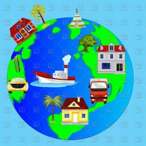 Vector Land Tree: Cartoon Planet Land With House And Tree Vector Clipart