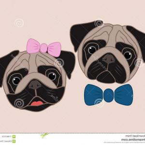 Cartoon Pug Vector: Cartoon Pugs Girl Boy Cartoon Pugs Girl Boy Vector Illustration Image