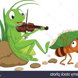 Grasshopper Clip Art Vector: Cartoon The Ant And The Grasshopper Image