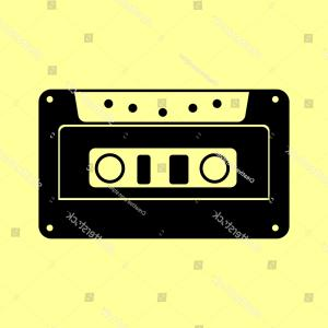 Cassette Icon Vector: Cassette Icon Audio Tape Sign Flat