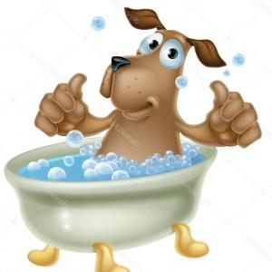 Dog Bubble Bath Vector: Catchy Stock Illustration Cartoon Dog In Bubble Bath