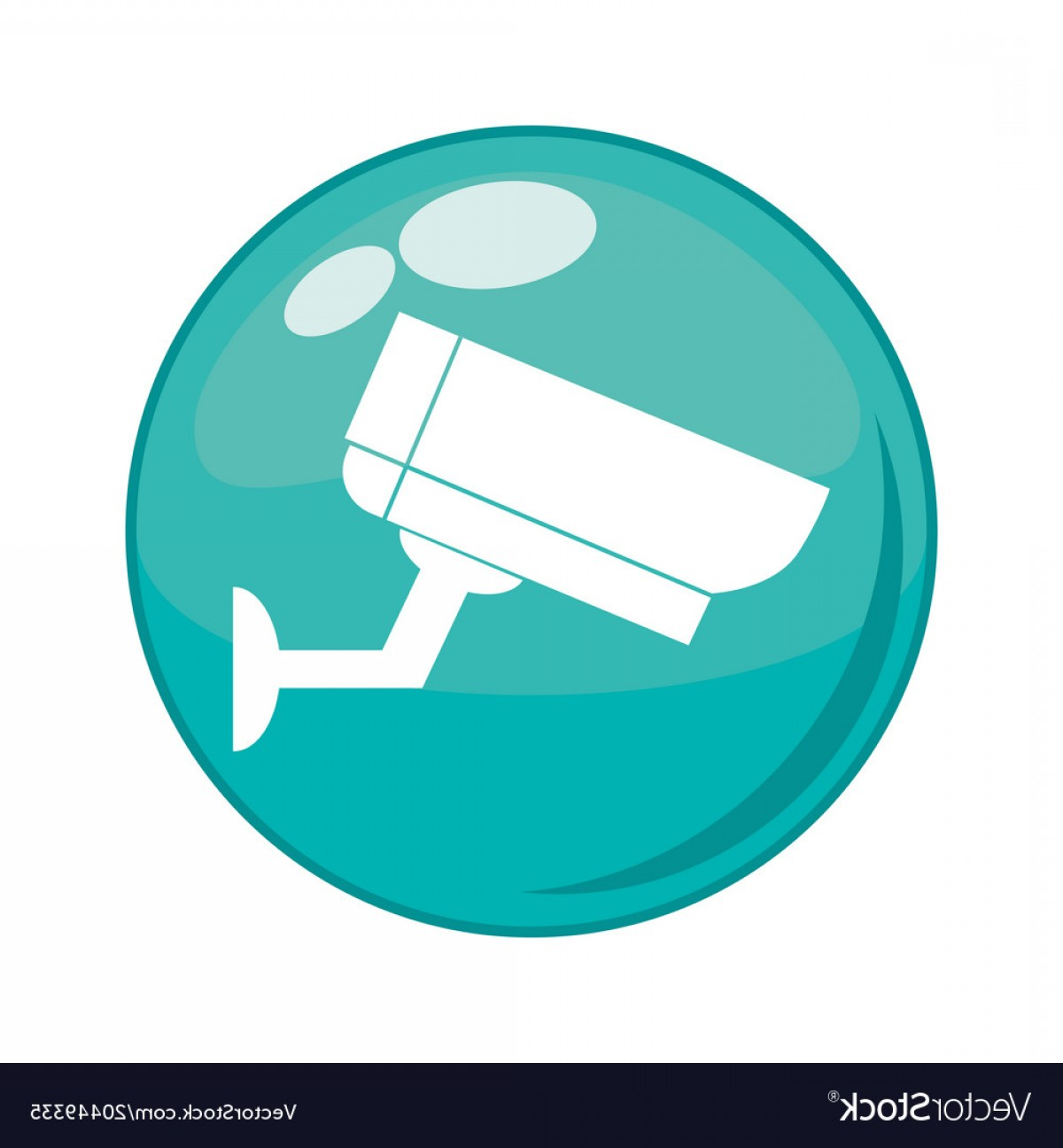 Button Icon Vector: Cctv Camera Button Icon Vector