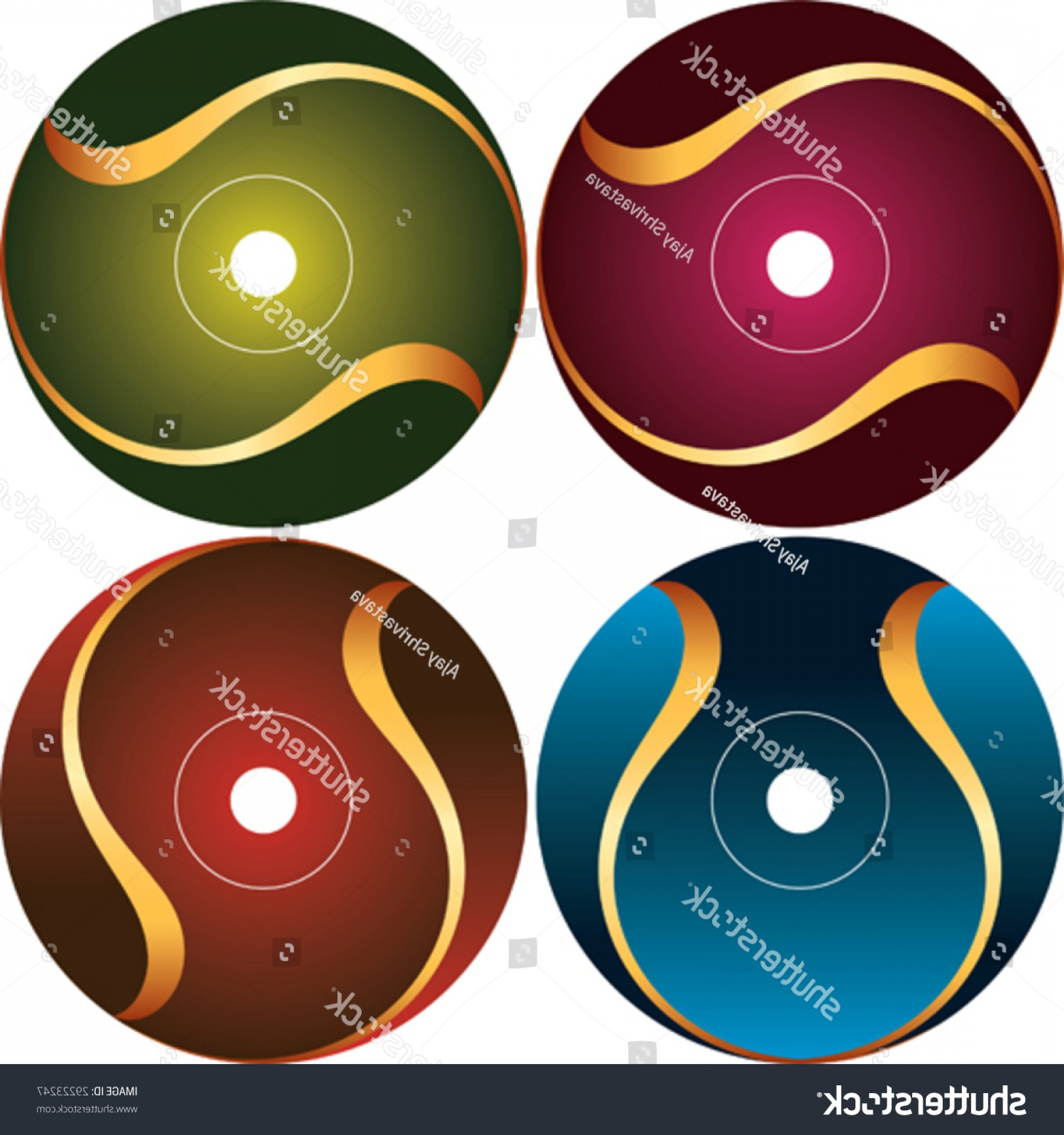 CD Label Template Vector: Cd Dvd Label Design Template