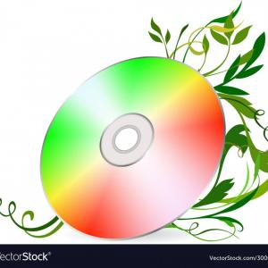 Vector CD: Cd Disk On Floral Background Vector