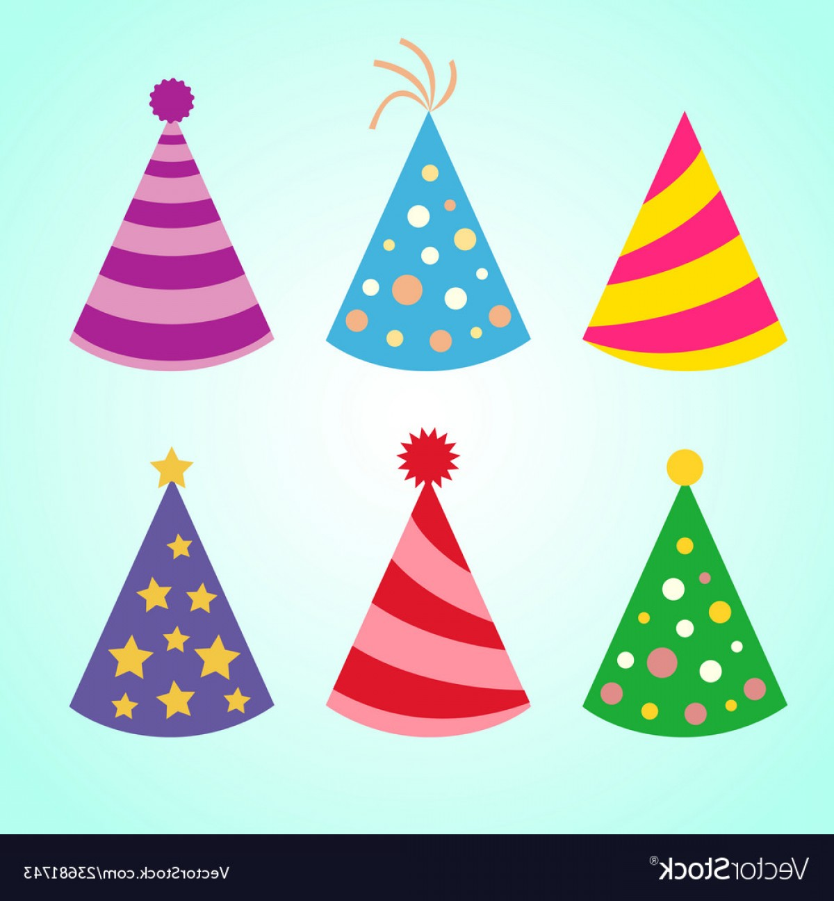 Teal Birthday Hat Vector: Celebration Set Of Colorful Birthday Party Hats Vector