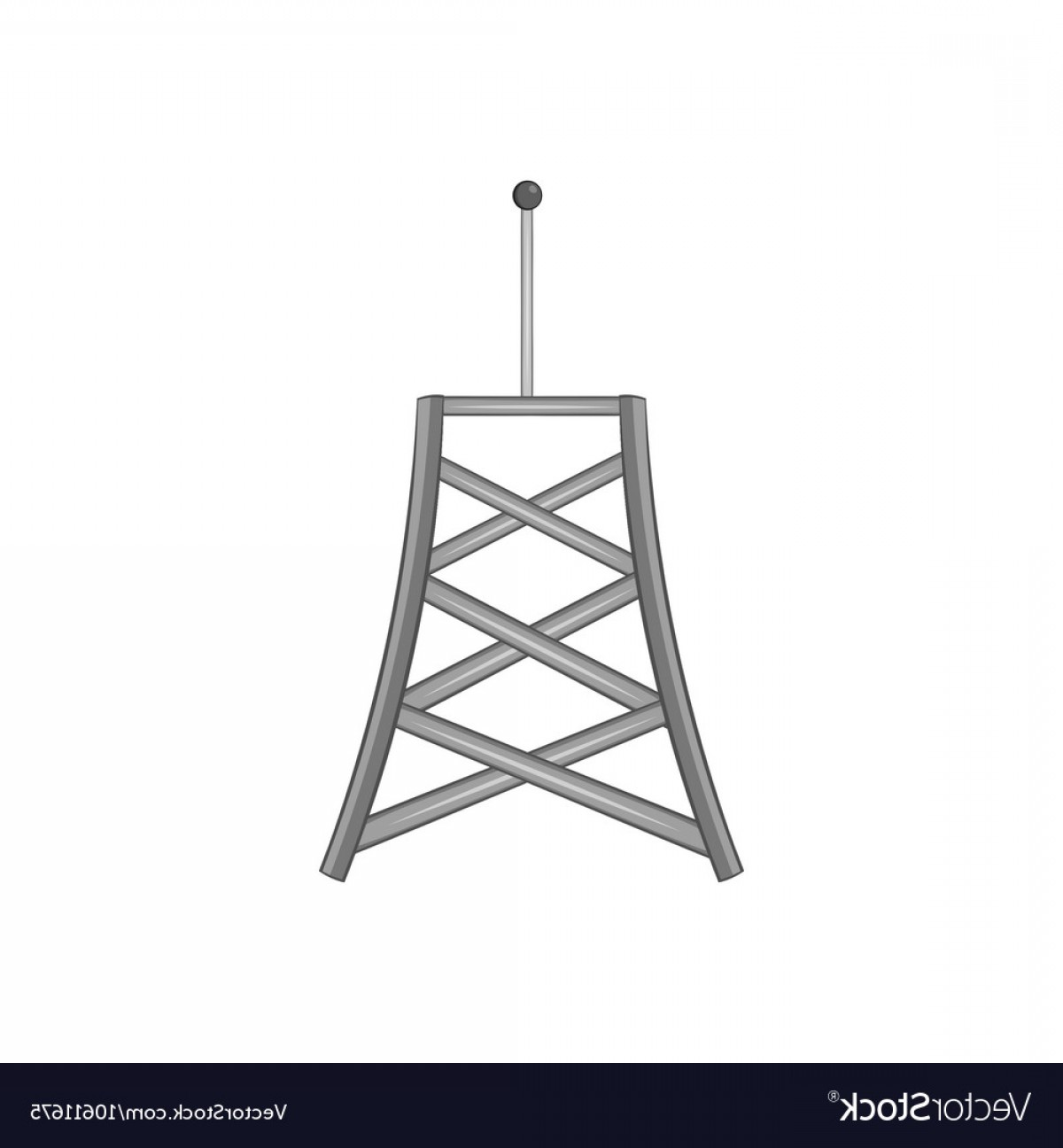Vector Phone Tower: Cell Phone Tower Icon Black Monochrome Style Vector