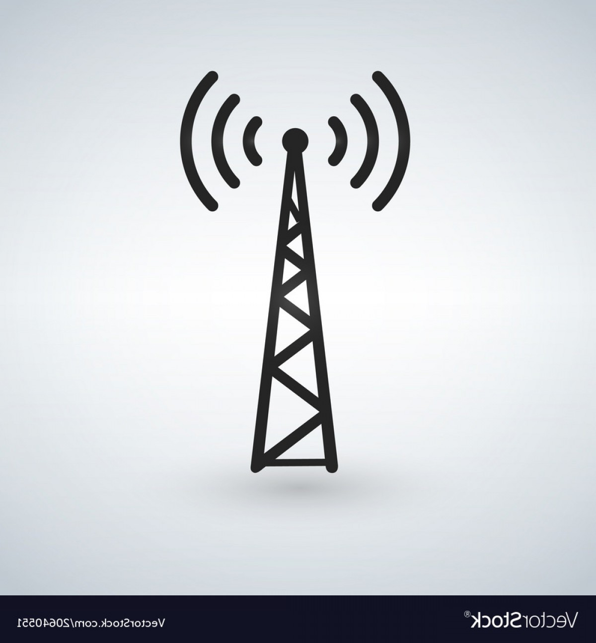 Vector Phone Tower: Cell Phone Tower Wifi Antena Black Icon Vector