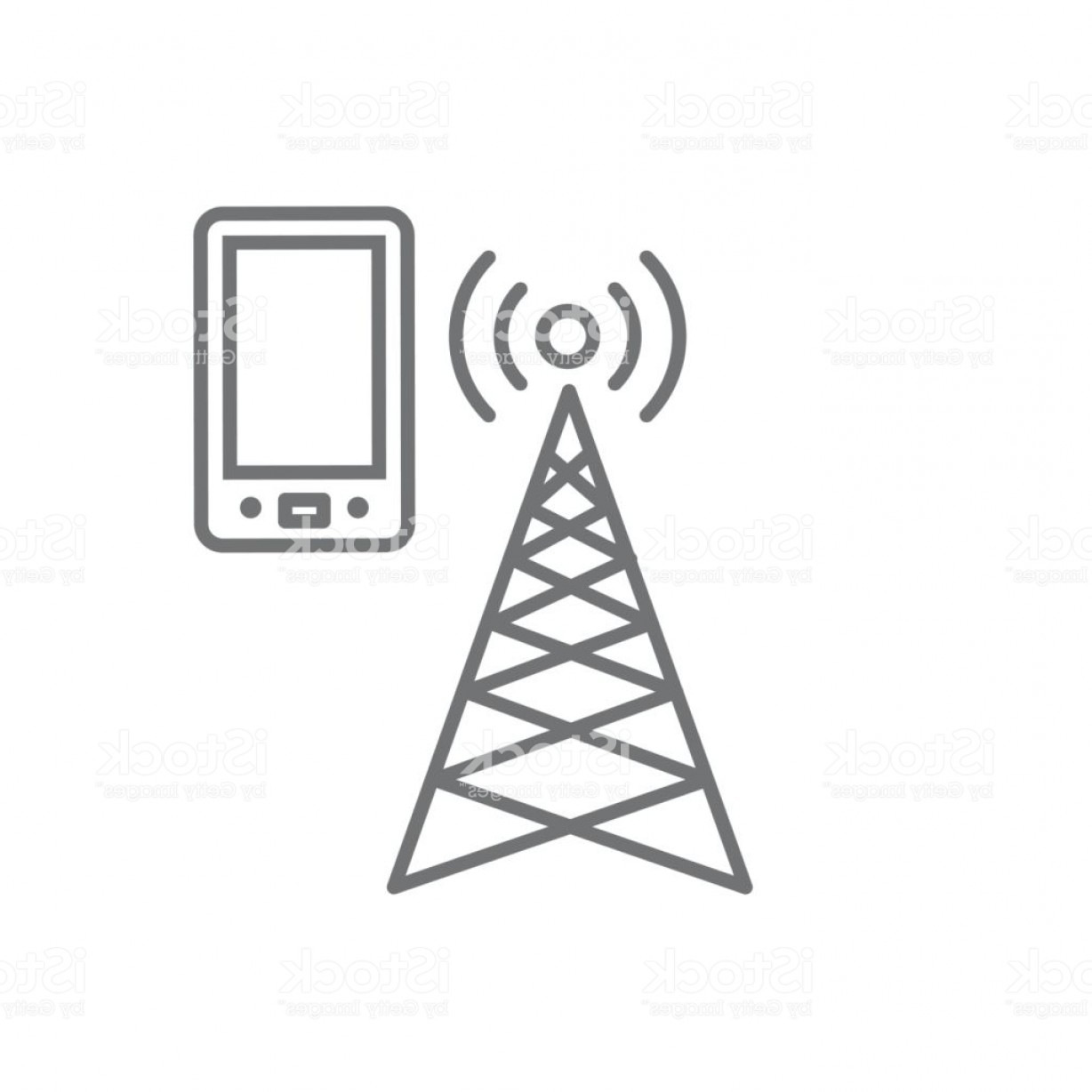 Vector Phone Tower: Cellphone Tower Icon With Emitting Pinging Transmission Waves Gm
