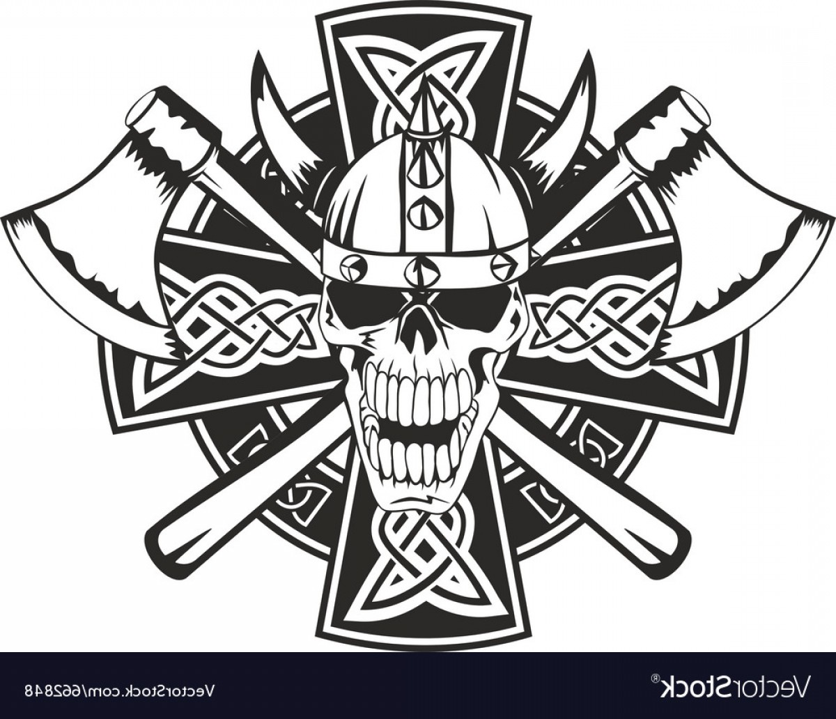 Cool Skull Vector: Celtic Cross And Skull Vector