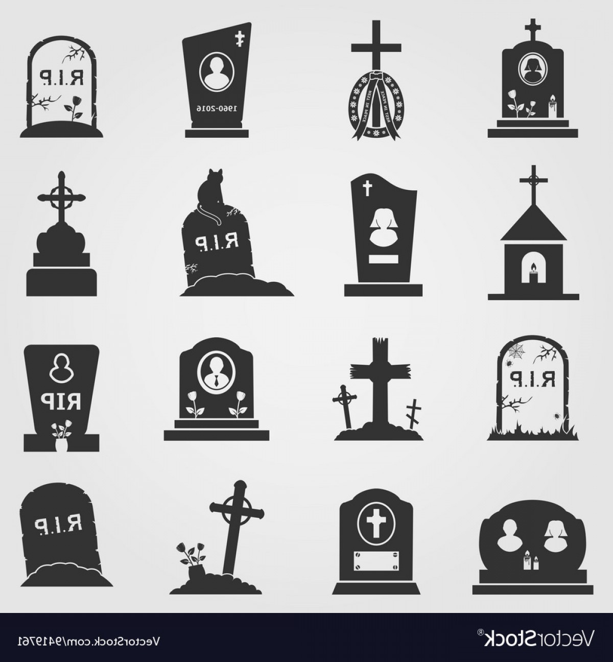 Gravestone Black And Whit Vector JPEG: Cemetery Crosses And Gravestones Icons Vector
