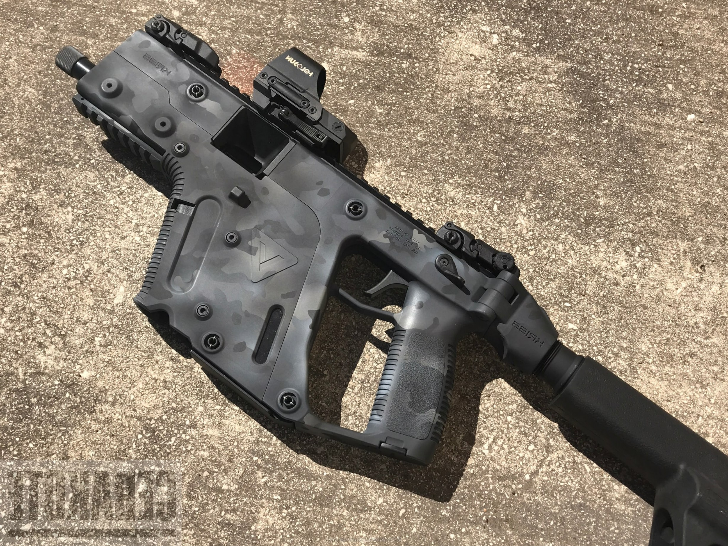 Painted Kriss Vector: Cerakote H Graphite Black H Magpul Stealth Grey H Armor Black H Battleship Grey And H Combat Grey