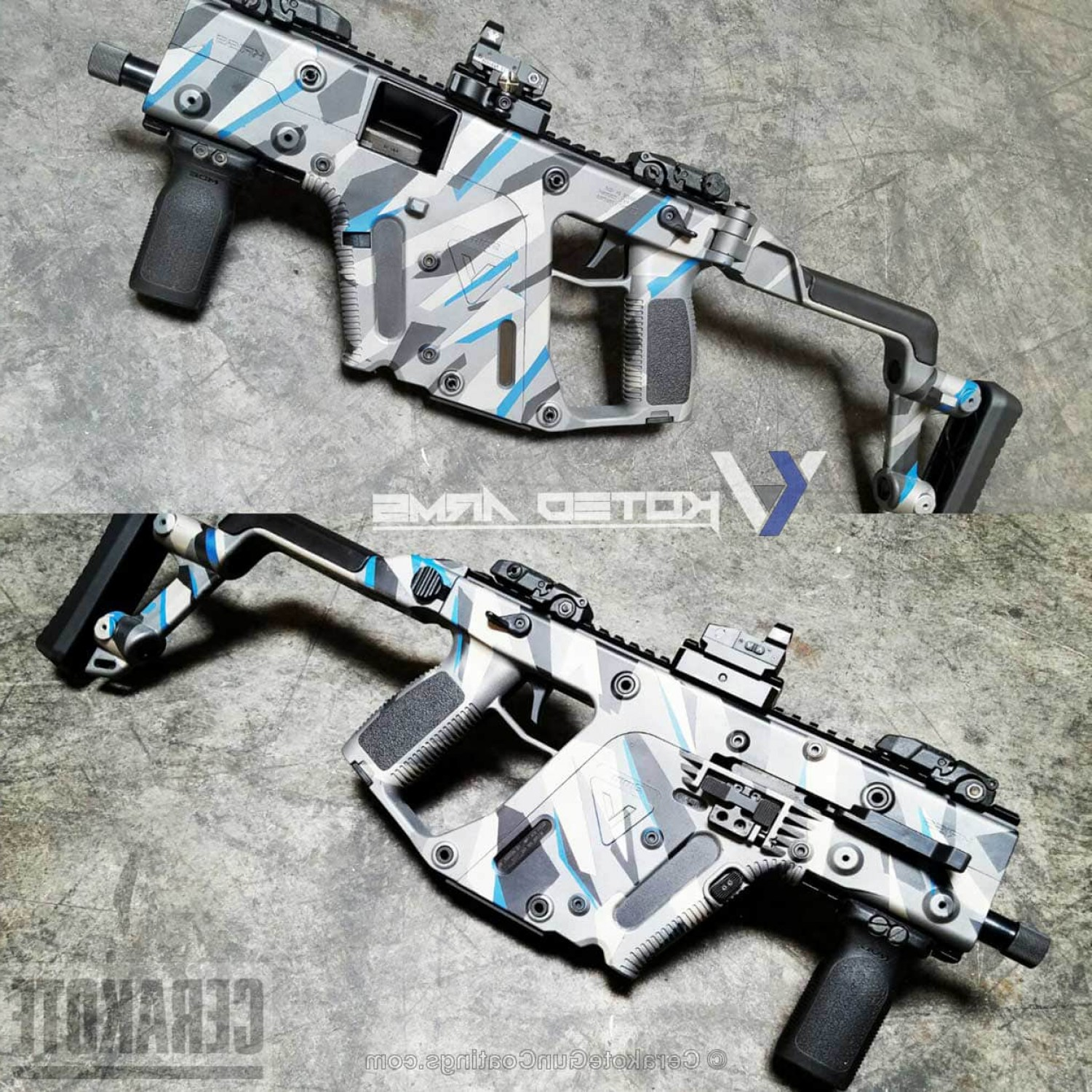 Tactical Vector: Cerakote H Graphite Black H Ridgeway Blue H Titanium And H Tactical Grey