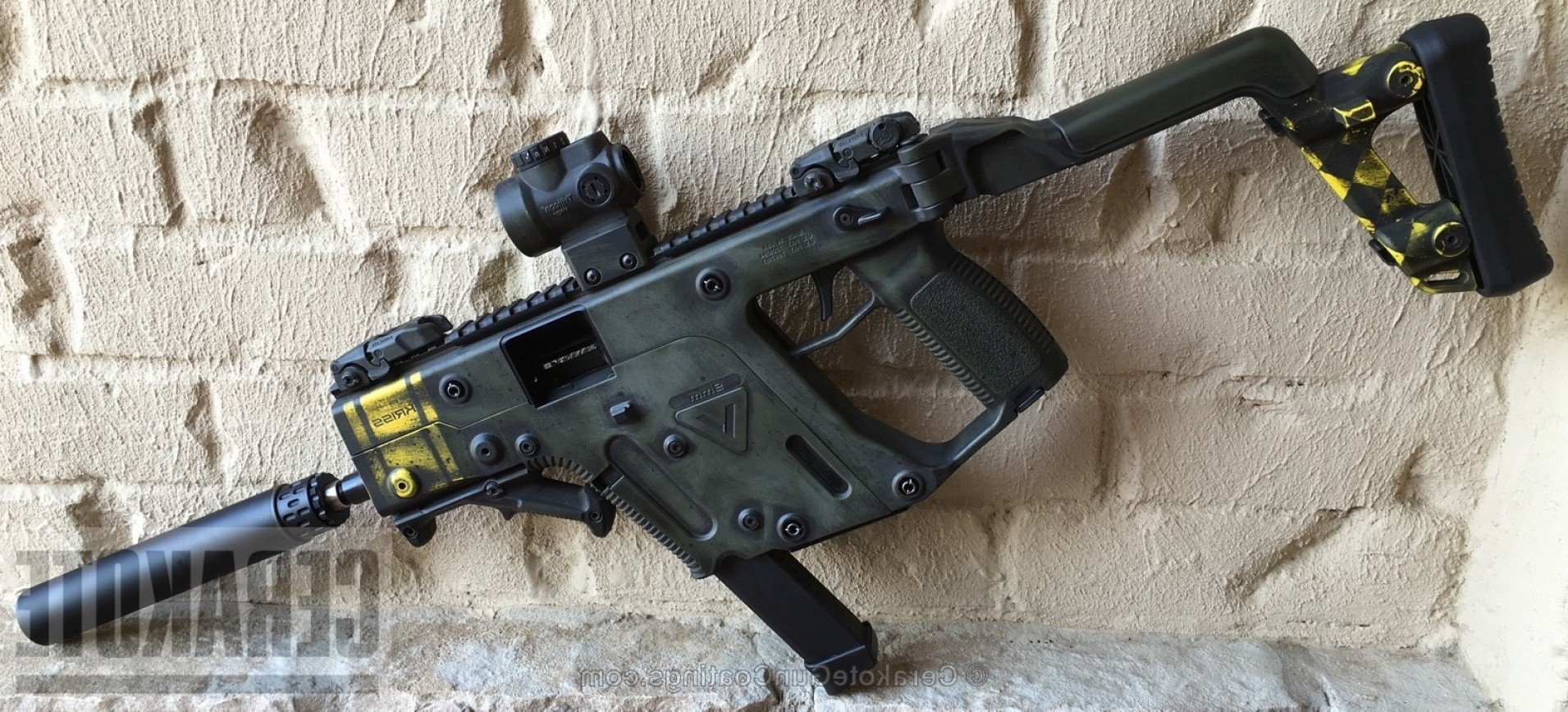 Painted Kriss Vector: Cerakote H Magpul Od Green With H Corvette Yellow And H Graphite Black