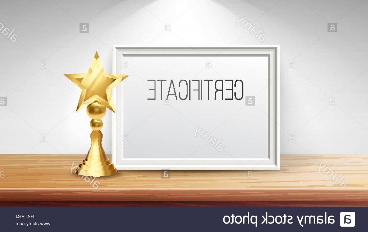 Standing Diploma Vector: Certificate Diploma With Golden Cup Vector Print Blank Business Graduation A Frame Display Stand D Realistic Illustration Image