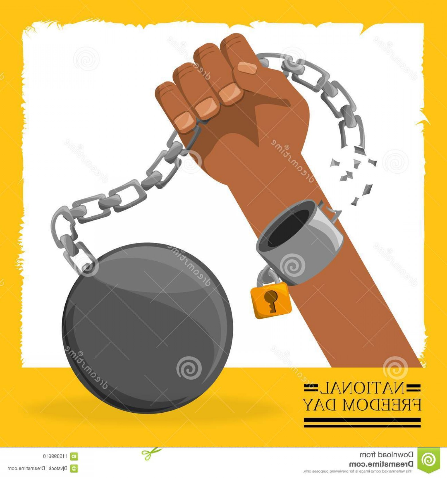 Chain And Lock Glove Vector: Chain Padlock Hand To Celebrate Freedom Chain Padlock Hand To Celebrate Freedom Vector Illustration Image